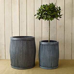 Notonthehighstreet.com - A Set Of Two Metal Ribbed Planters by THE FOREST & CO
