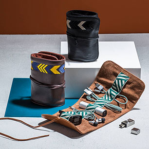 Notonthehighstreet.com - Leather Tech Roll With Mobile Accessories by MANTIDY