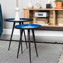 Set Of Two Nesting Tables In Blue Oil Drop