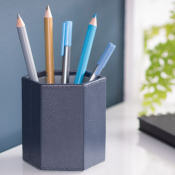 Leather Pen Pot Hexagonal Ink Blue