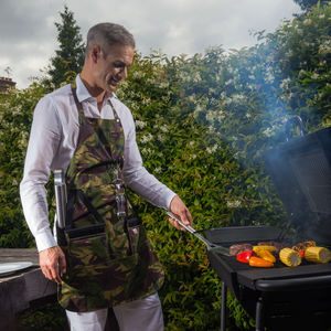 Camouflage Barbeque Apron With Integrated Oven Gloves