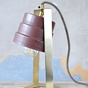 Burgundy And Brass Industrial Style Table Lamp