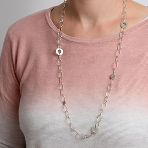 Long Statement Necklace With Discs
