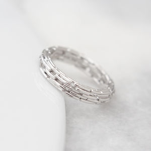 18ct White Gold Shift Band - wedding rings