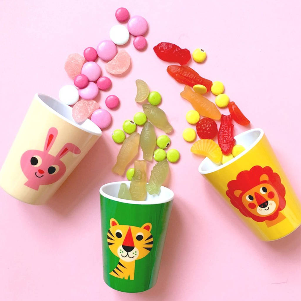 Retro Style Colourful Animal Melamine Cup