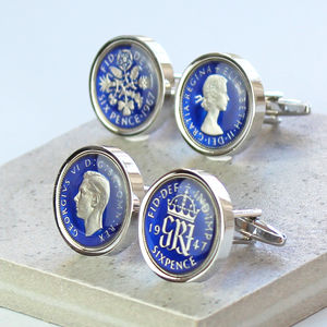 Blue Enamel Sixpence Cufflinks 1948 Or 1958 - wedding jewellery