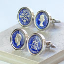 Blue Enamel Sixpence Cufflinks 1948 Or 1958