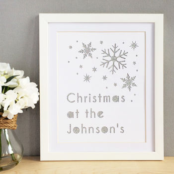 Personalised Christmas Snowflakes Glittered Cut Out Art