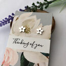 flower earrings with gift card