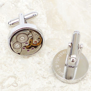 Personalised Vintage Round Watch Movement Cufflinks - gifts for grandparents