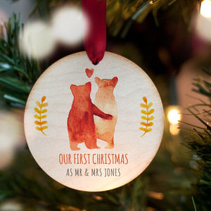 First Christmas As Mr And Mrs Personalised Bear Bauble - view all decorations