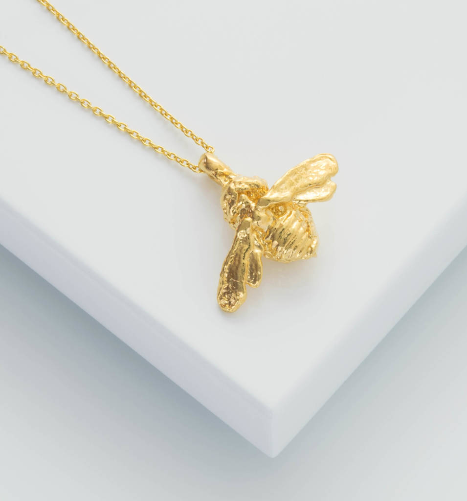 yellow bee silver plated gold bumble necklace pendant