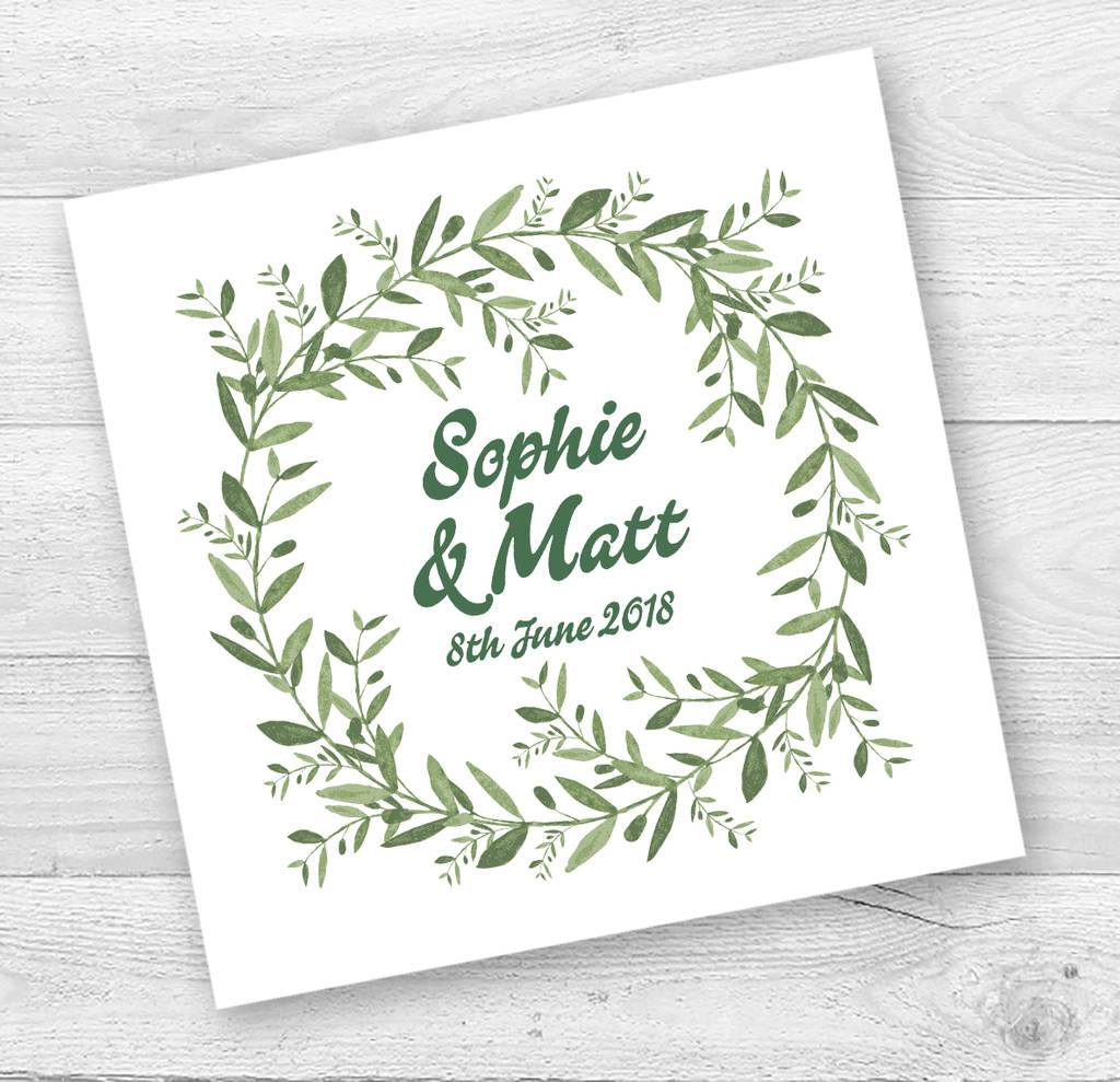 Personalised Garland Engagement Or Wedding Card
