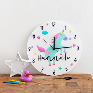 Girl's Bedroom Unicorn Theme Personalised Clock Gift - children's room