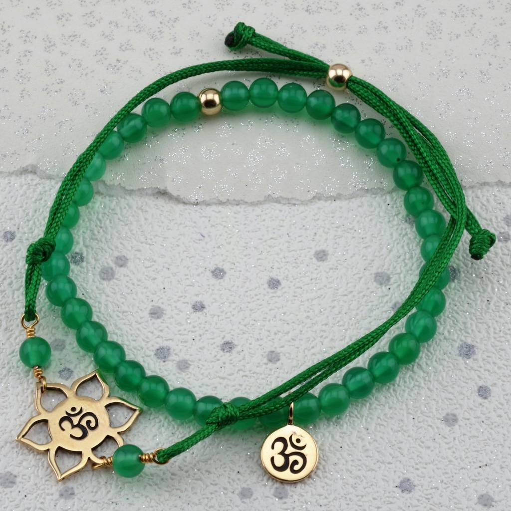 Om Green Agate Cord Or Bead Bracelet In Gold Or Silver