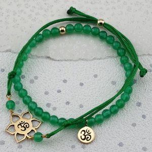 Ohm Green Agate Bracelets In Gold Or Silver