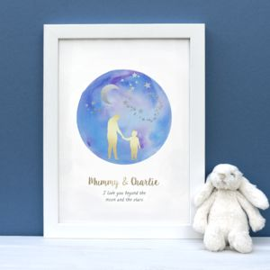 Personalised Moon And Stars Foil Silhouette Print - dreamland nursery