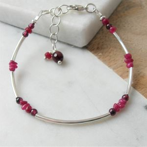 Ruby And Silver Bracelet - july birthstone