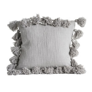Grey Tassel Cushion