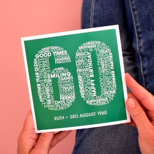 Personalised Name And Date 60th Birthday Card