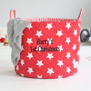 Personalised Star Storage Bag Red - children's room