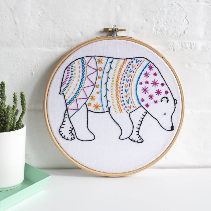Bear contemporary embroidery craft kit by hawthorn