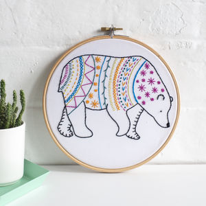 Bear Contemporary Embroidery Craft Kit - gifts for her