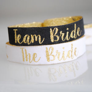 Team Bride Black And Gold Hen Party Wristbands