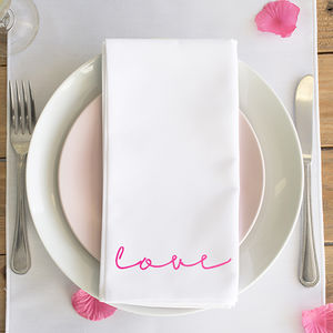 'Love' Neon Sign Napkin - new in wedding styling