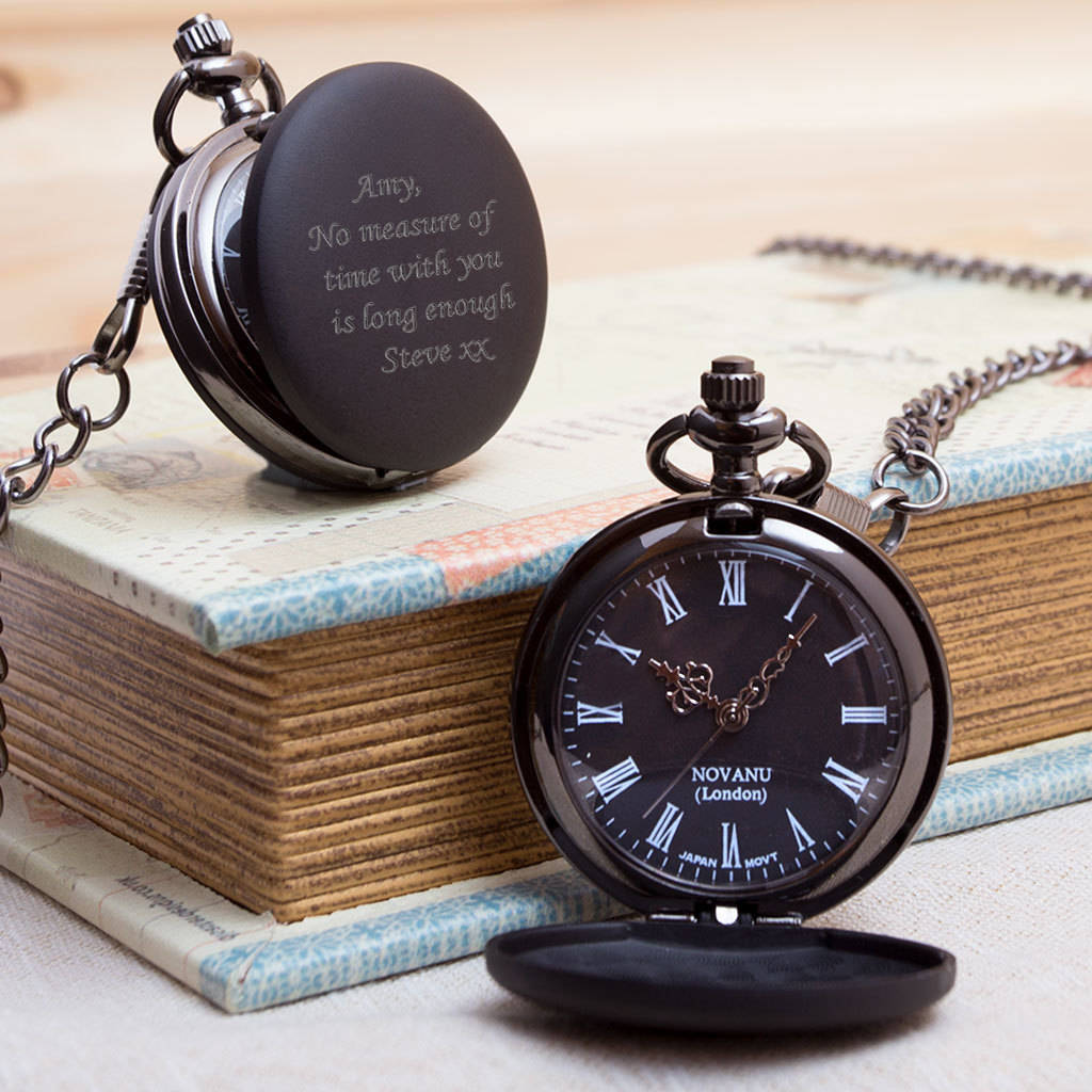 af05edfb1 engraved pocket watch in gun metal black with box by giftsonline4u ...
