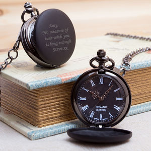 Engraved Pocket Watch In Gun Metal Black With Box - mens
