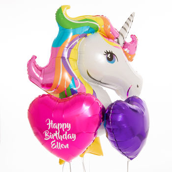 Inflated Personalised Balloonicorn Birthday Balloons
