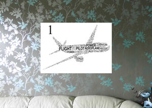 Aeroplane Personalised Word Art Print