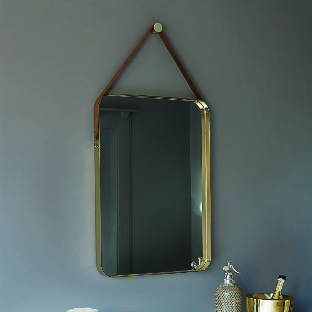 Rectangular Brass And Leather Hanging Wall Mirror