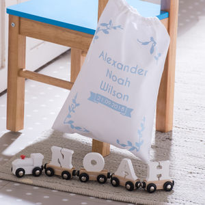 Exclusive Christening Name Train And Gift Bag - keepsakes
