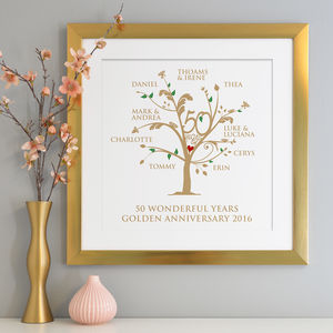 Personalised Golden Anniversary Family Tree Print - 50th anniversary: gold