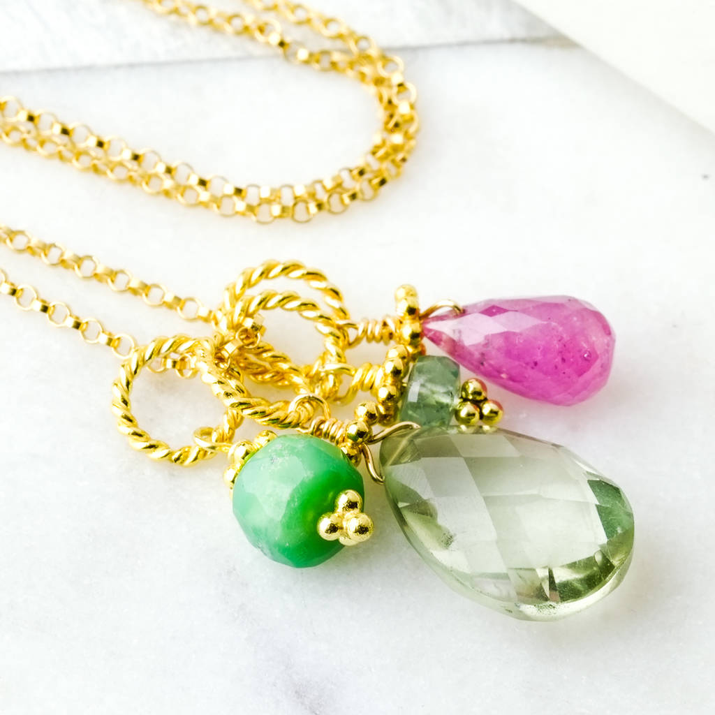 Sundar Gold Boho Gemstone Charm Necklace