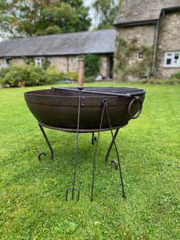 Indian Fire Bowl With Half Moon BBQ Rack
