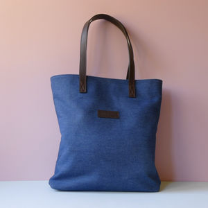 Denim And Leather Tote Bag With Liberty Fabric Lining