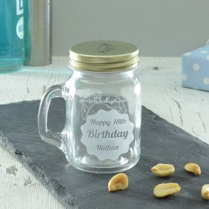 Personalised 18th Birthday Shot Glass Jar