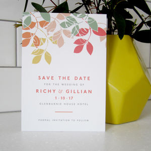 Autumn Leaves Save The Date Card - invitations