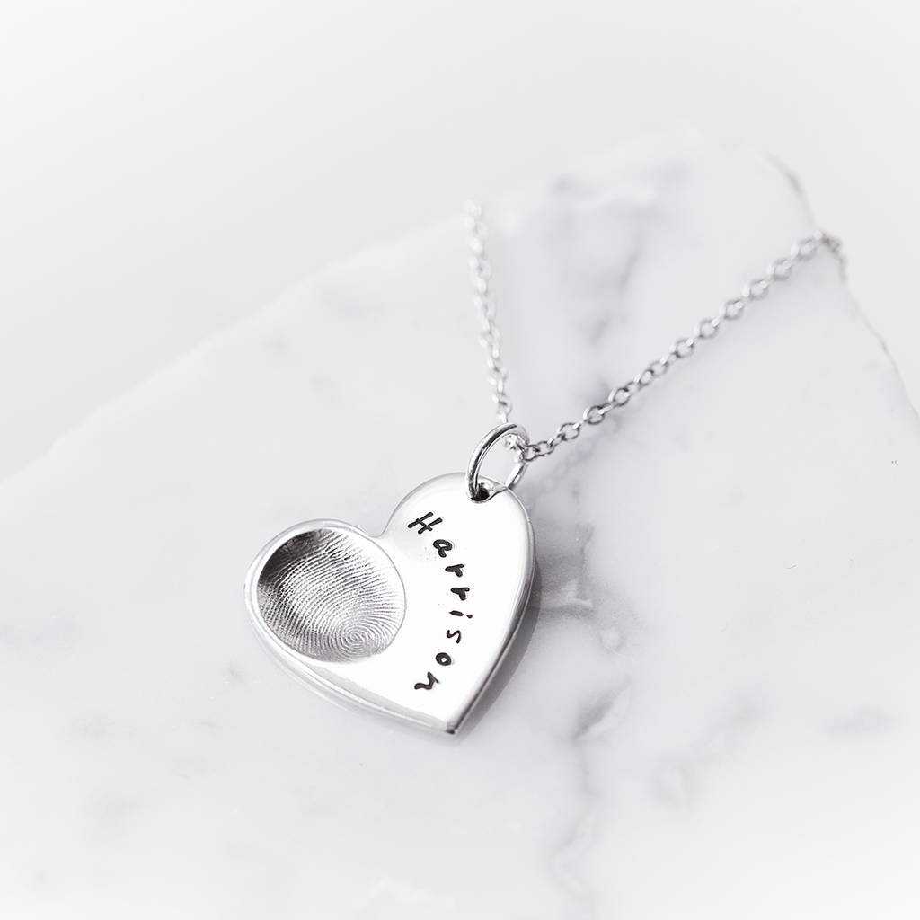 mummy fingerprint personalised gifts bear products silver necklace teddy for baby gift