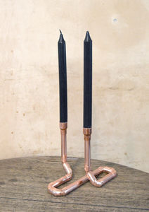 Copper Pipe Candle Holder Duo - candlesticks & holders