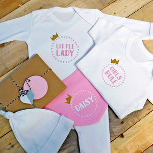 Personalised Girls Crown Baby Name Gift Set