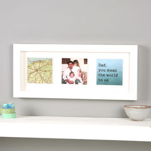 Personalised Map Photo Message Frame Print For Him