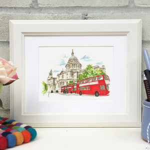 Hand Illustrated St Paul's Cathedral London Bus Print