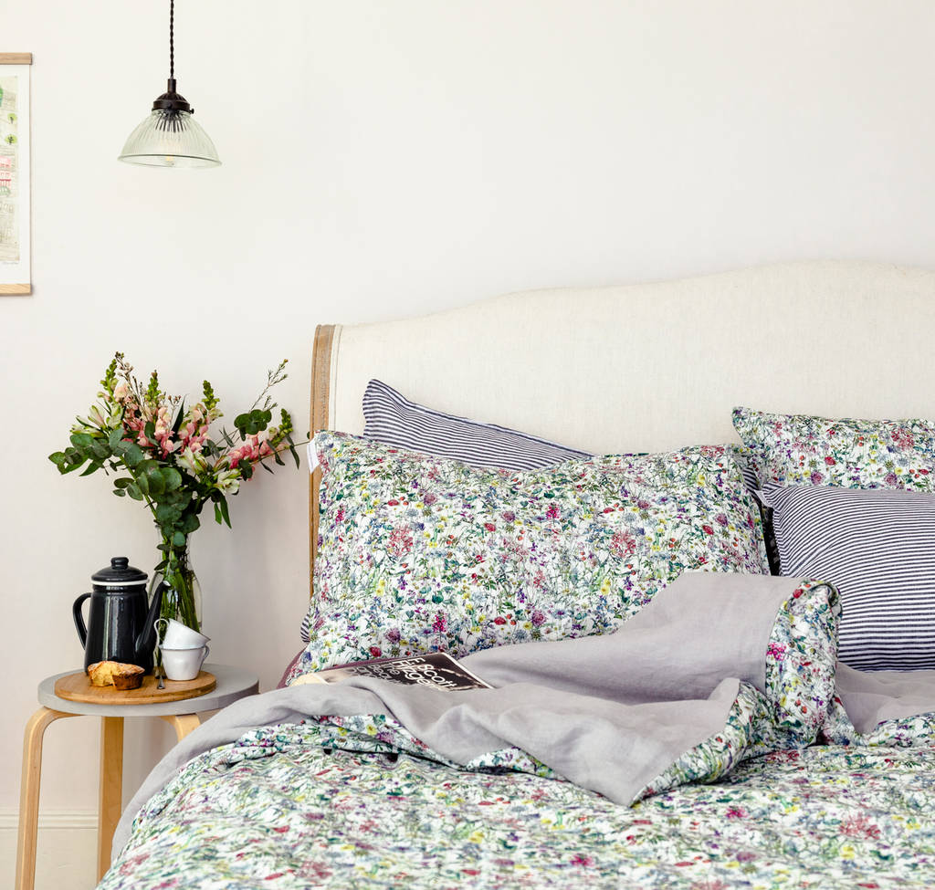 Liberty Print Bedding In Wild Flowers And Linen