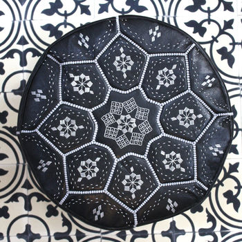 Moroccan Leather Tile Print Pouffe