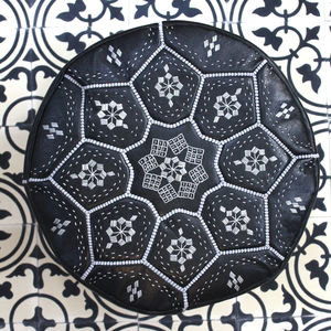 Moroccan Leather Tile Print Pouffe - furniture