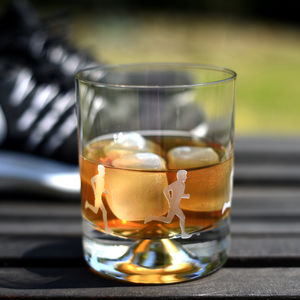 Runner's Etched Glass Tumbler - drink & barware